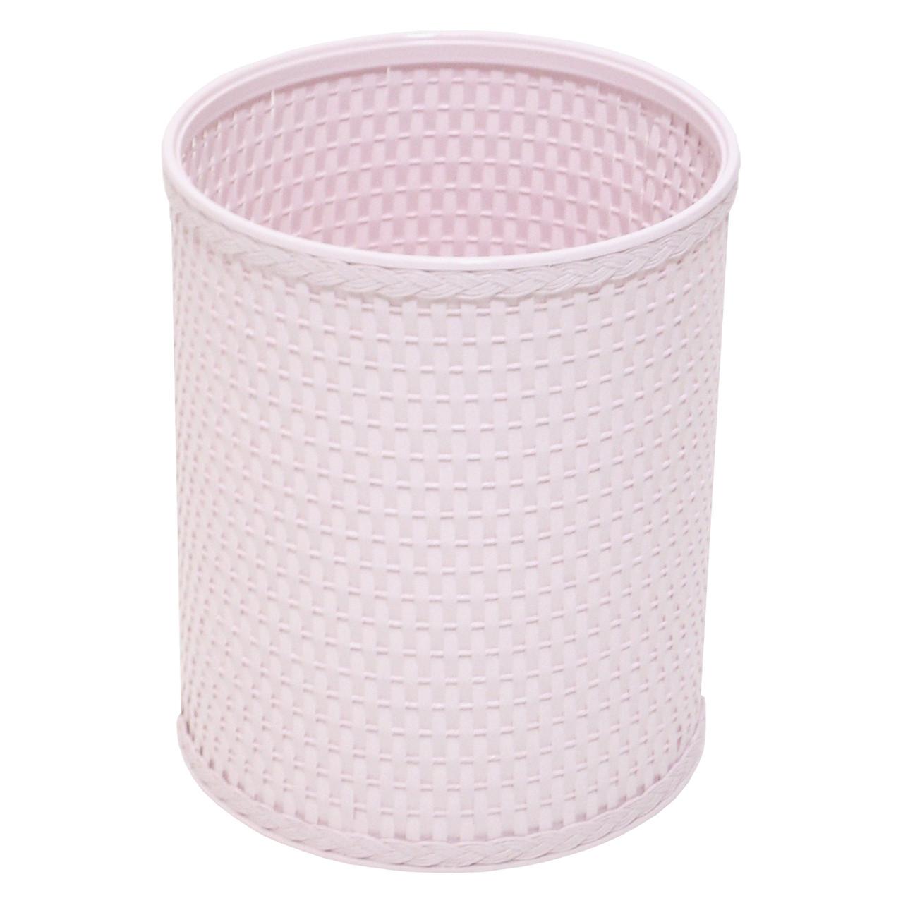 Chelsea Wicker Round Wastebasket Crystal Pink