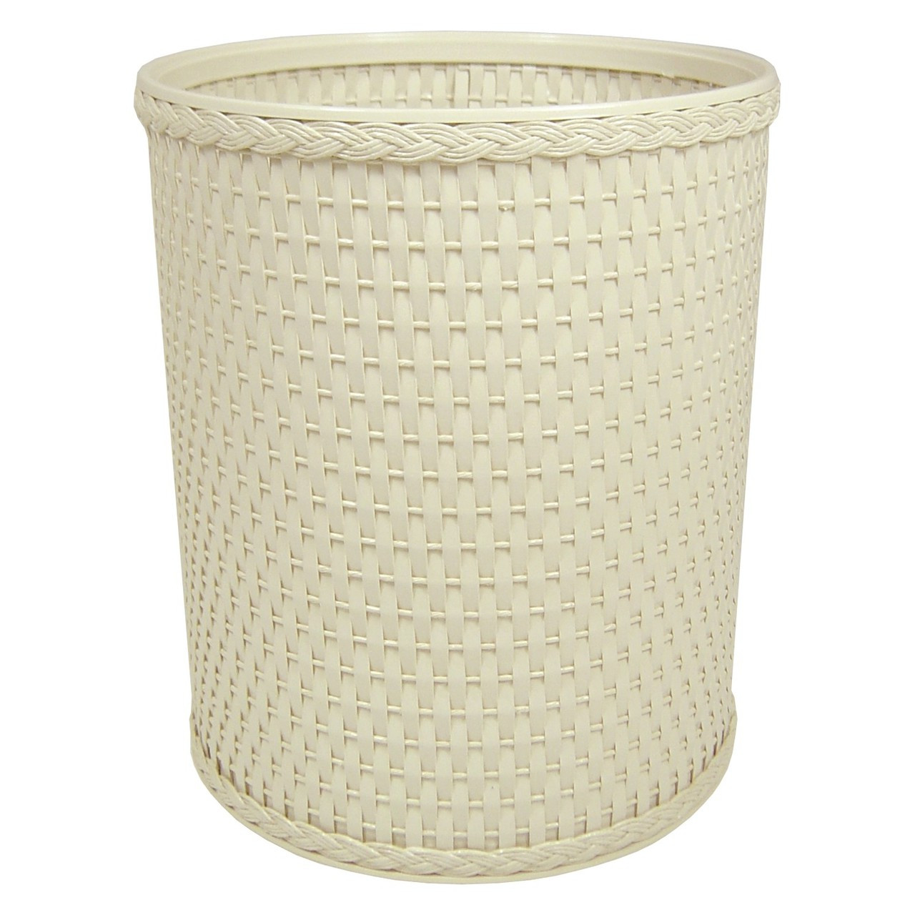 Chelsea Wicker Round Wastebasket Cream