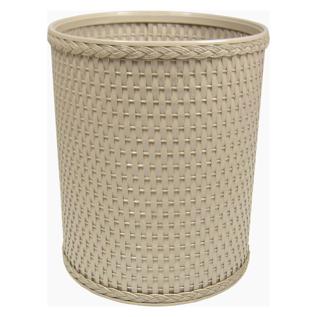 Chelsea Wicker Round Wastebasket Mocha