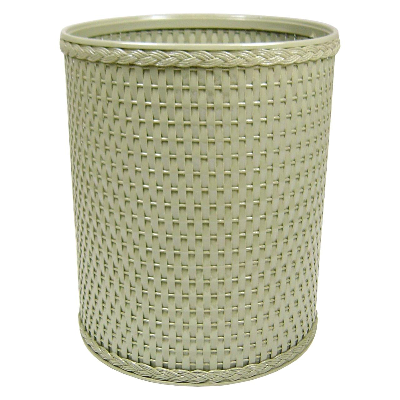 Chelsea Wicker Round Wastebasket Sage