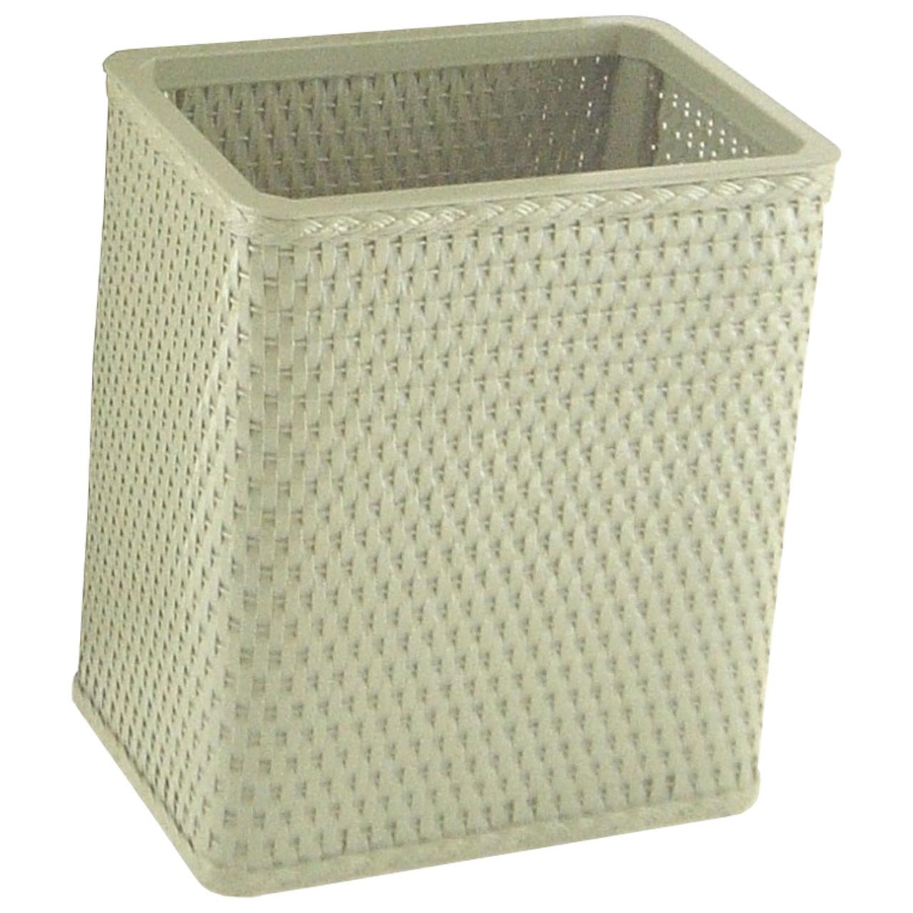 Chelsea Wicker Rectangular Wastebasket Sage