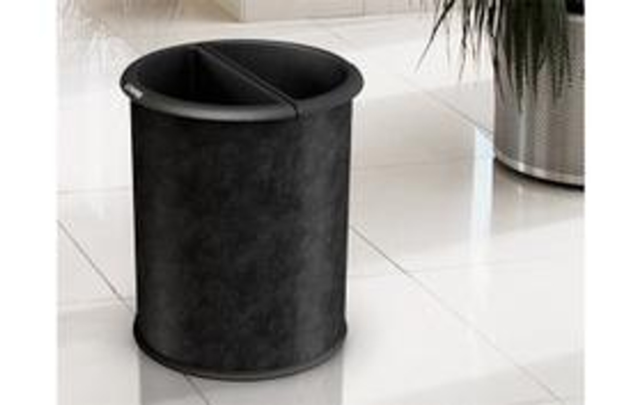 Dual Sided Office Recycling Wastebasket Vinyl Wrapped Steel Black