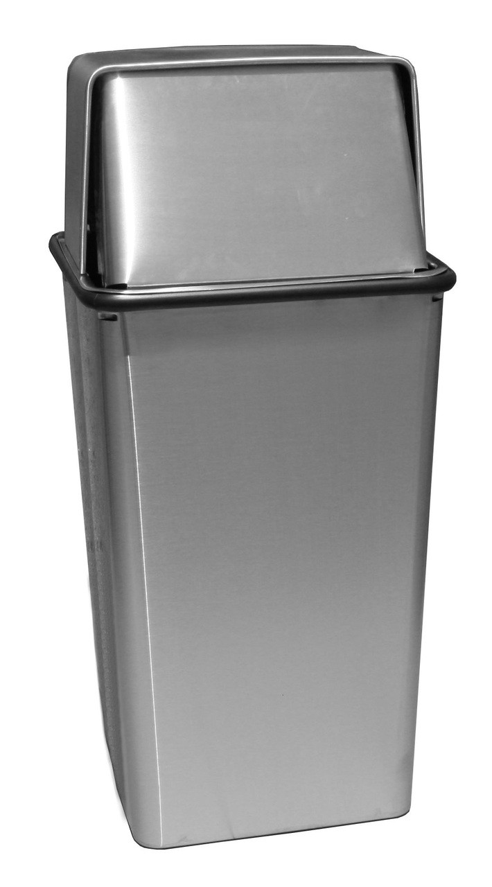 21 Gallon Metal Stainless Steel Square Push Top Trash Can 21HTSS