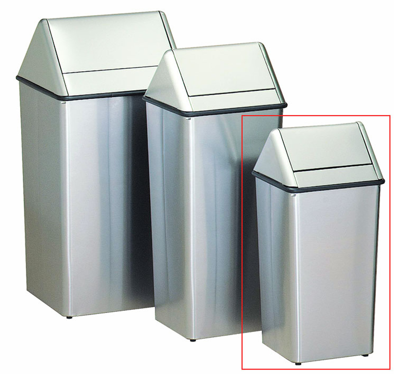 Metal Stainless Steel 13 Gallon Swing Top Waste Receptacle 1311HTSS