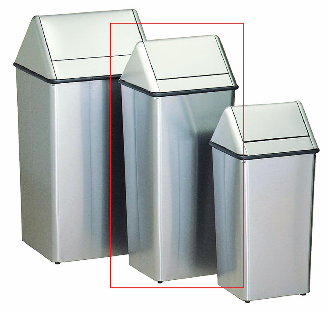 Metal Stainless Steel 21 Gallon Swing Top Waste Receptacle 1411HTSS