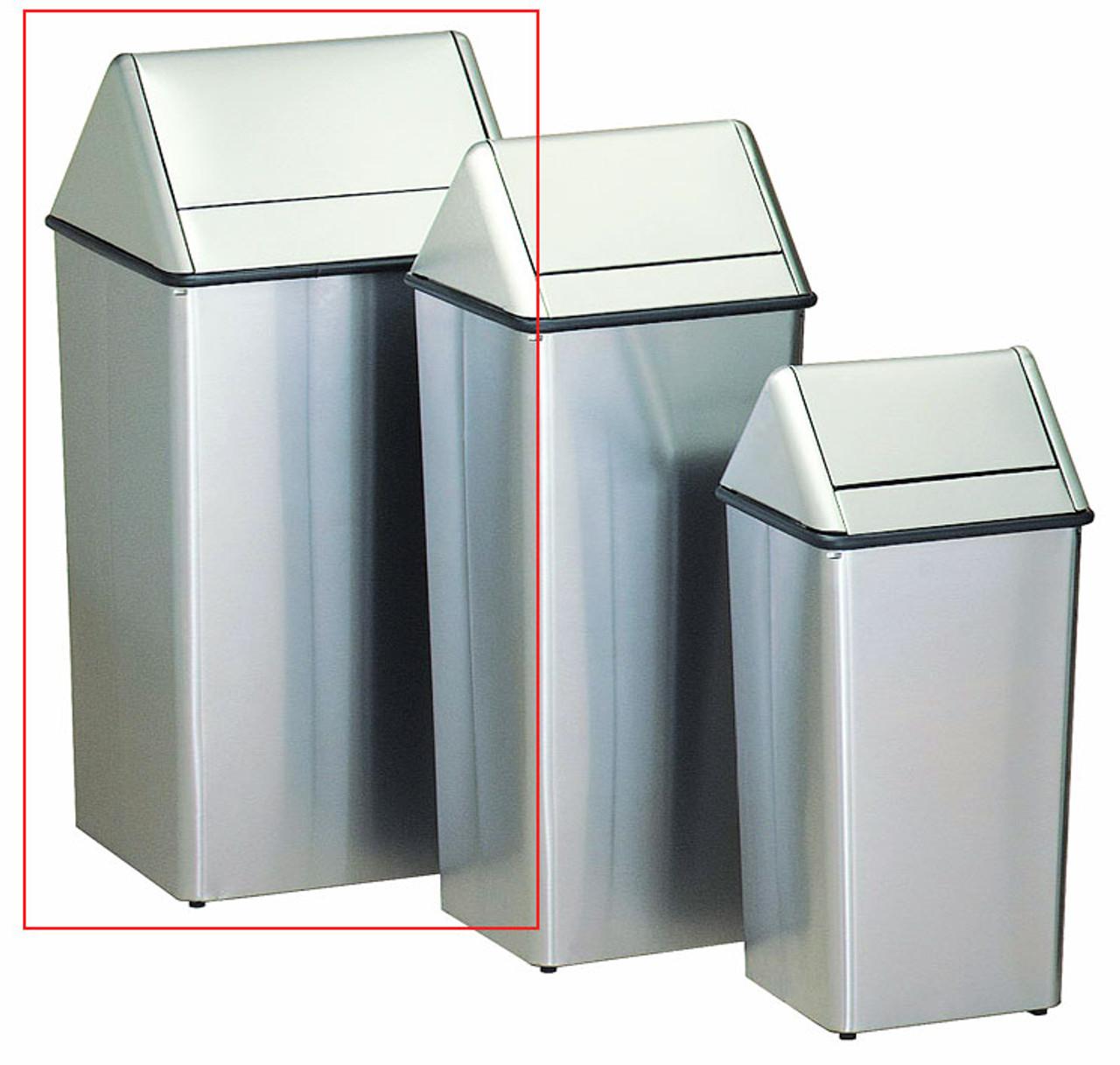 Metal Stainless Steel 36 Gallon Swing Top Waste Receptacle 1511HTSS