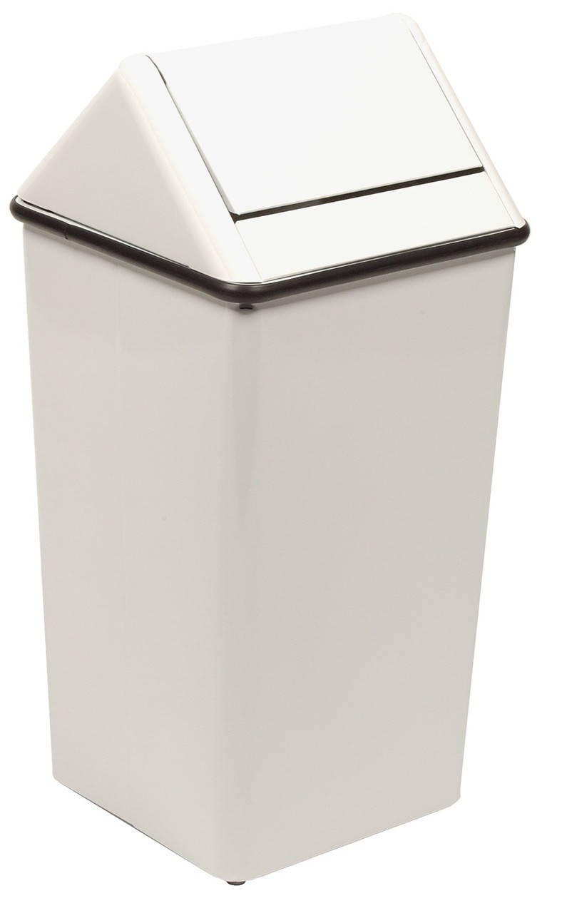 Metal 13 Gallon Swing Top Square Waste Receptacle 1311HT White