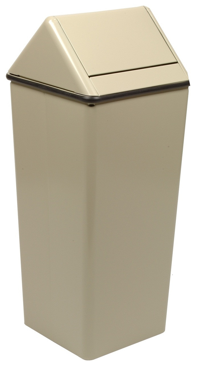 Metal 21 Gallon Swing Top Square Waste Receptacle 1411HT Almond