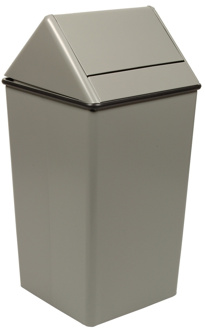 Metal 21 Gallon Swing Top Square Waste Receptacle 1411HT Slate