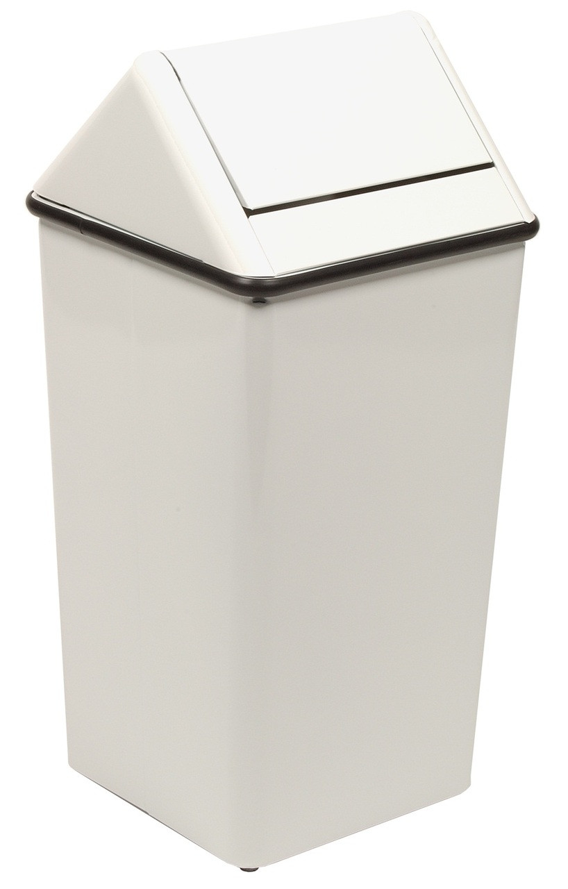 Metal 36 Gallon Swing Top Square Waste Receptacle 1511HT White