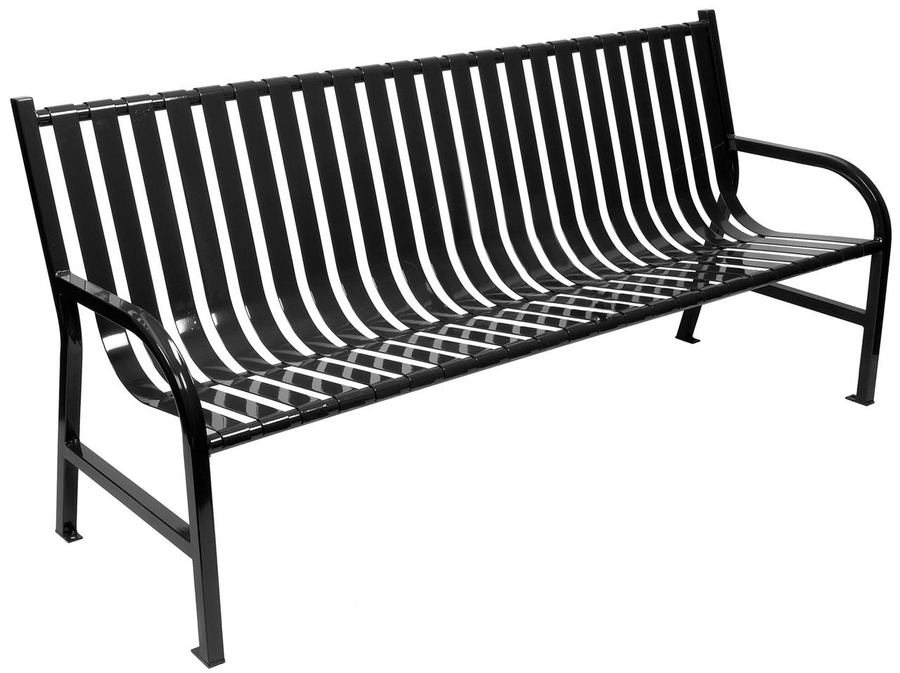 Witt Industries Oakley Outdoor Slatted Bench 6 Foot Black