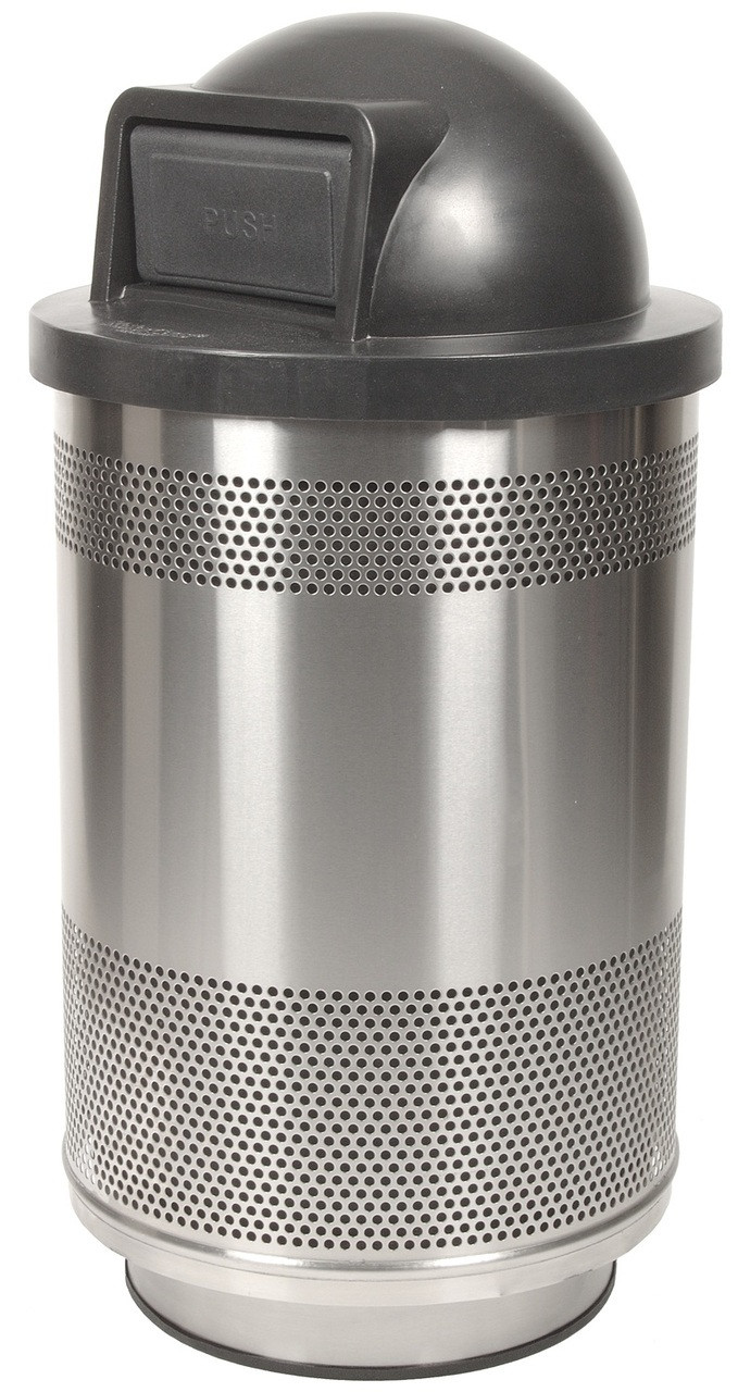 35 Gallon Stadium Series Stainless Steel Trash Container SC35-01-SS with Dome Top