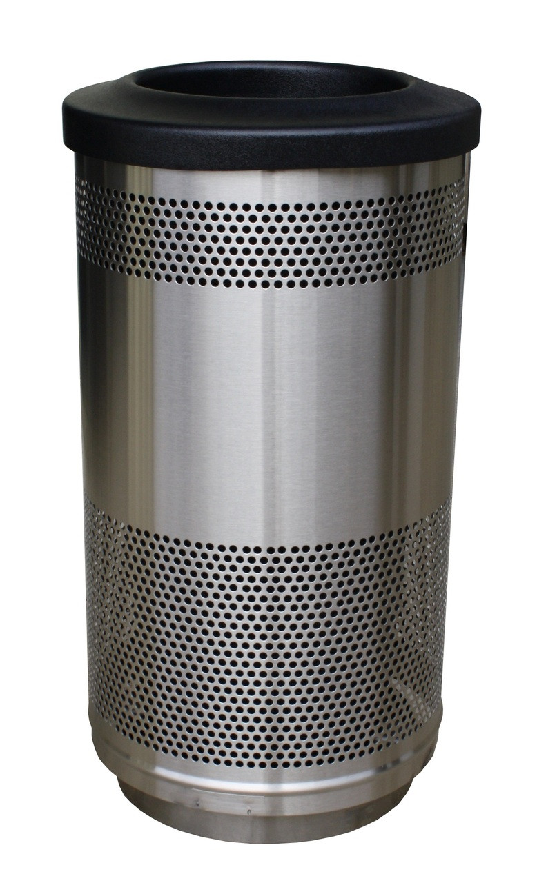 35 Gallon Stadium Series Stainless Steel Trash Container SC35-01-SS Flat Top