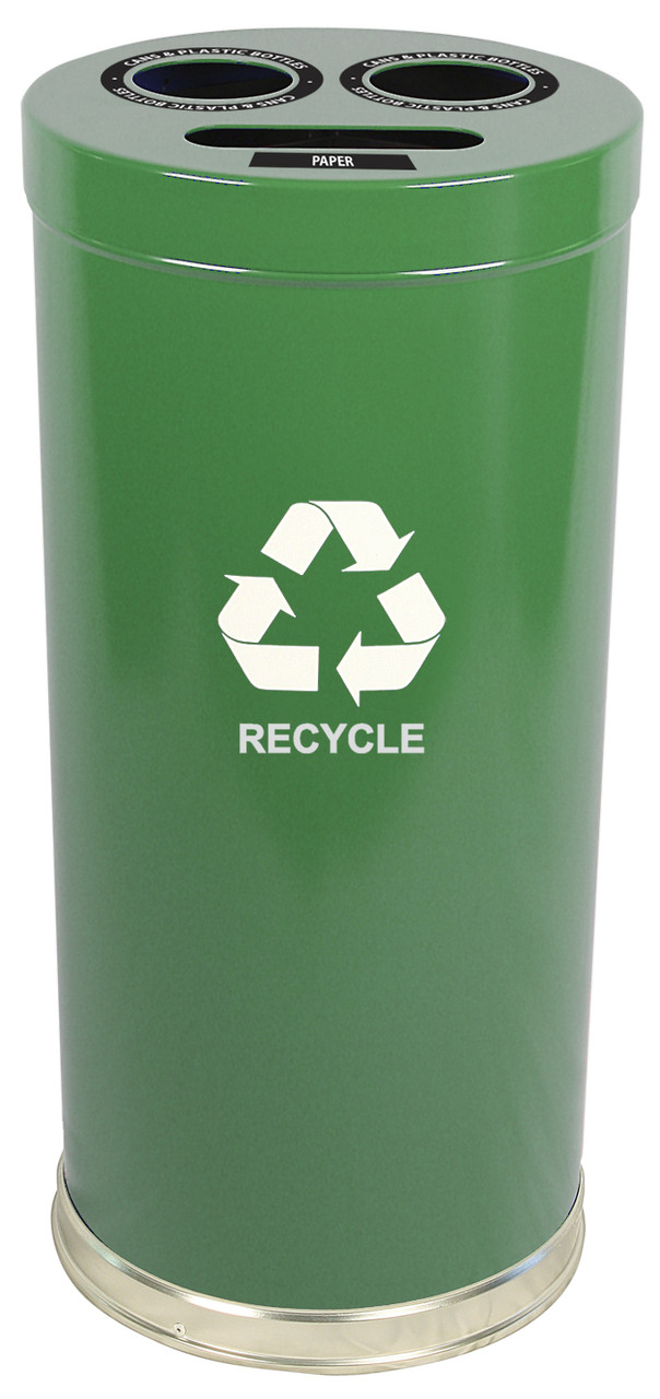 24 Gallon Metal Multi Recycling Container 1 or 3 Openings Green