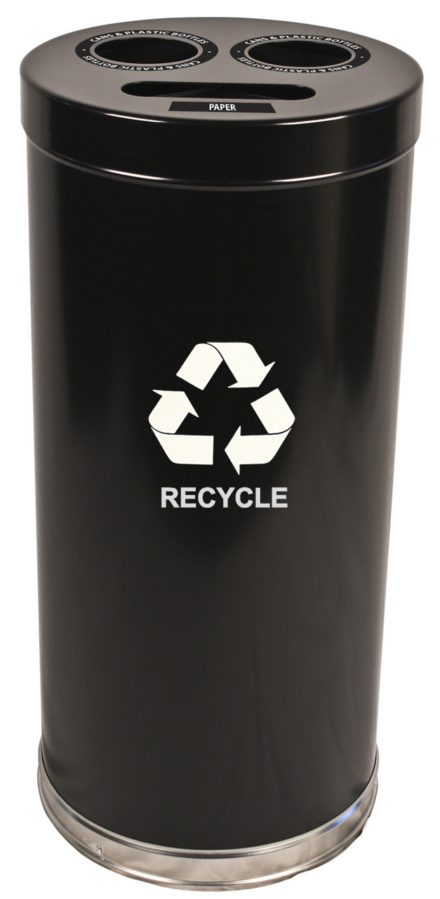 24 Gallon Metal Multi Recycling Container 1 or 3 Openings Black