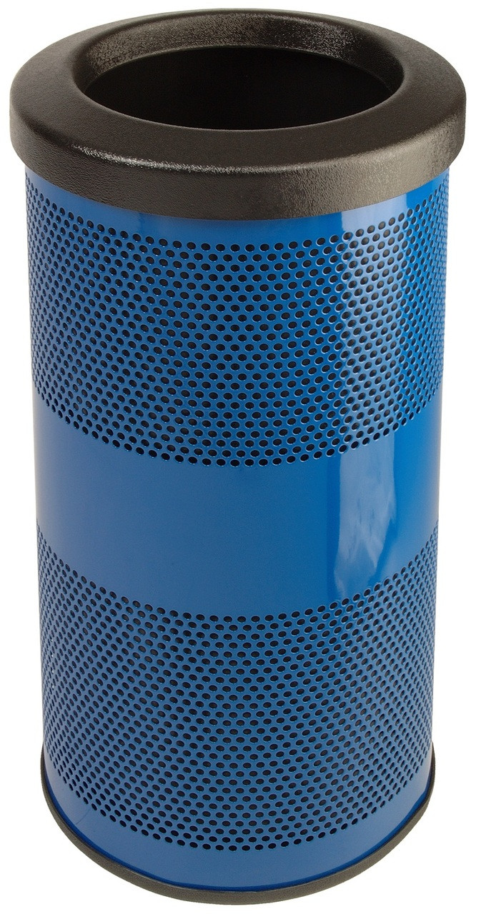 10 Gallon Stadium Series Painted Steel Trash Container SC10-01-FT Blue
