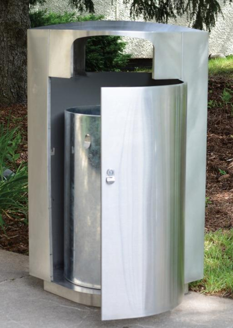 20 or 40 Gallon Leaf View Stainless Steel Trash Can Open