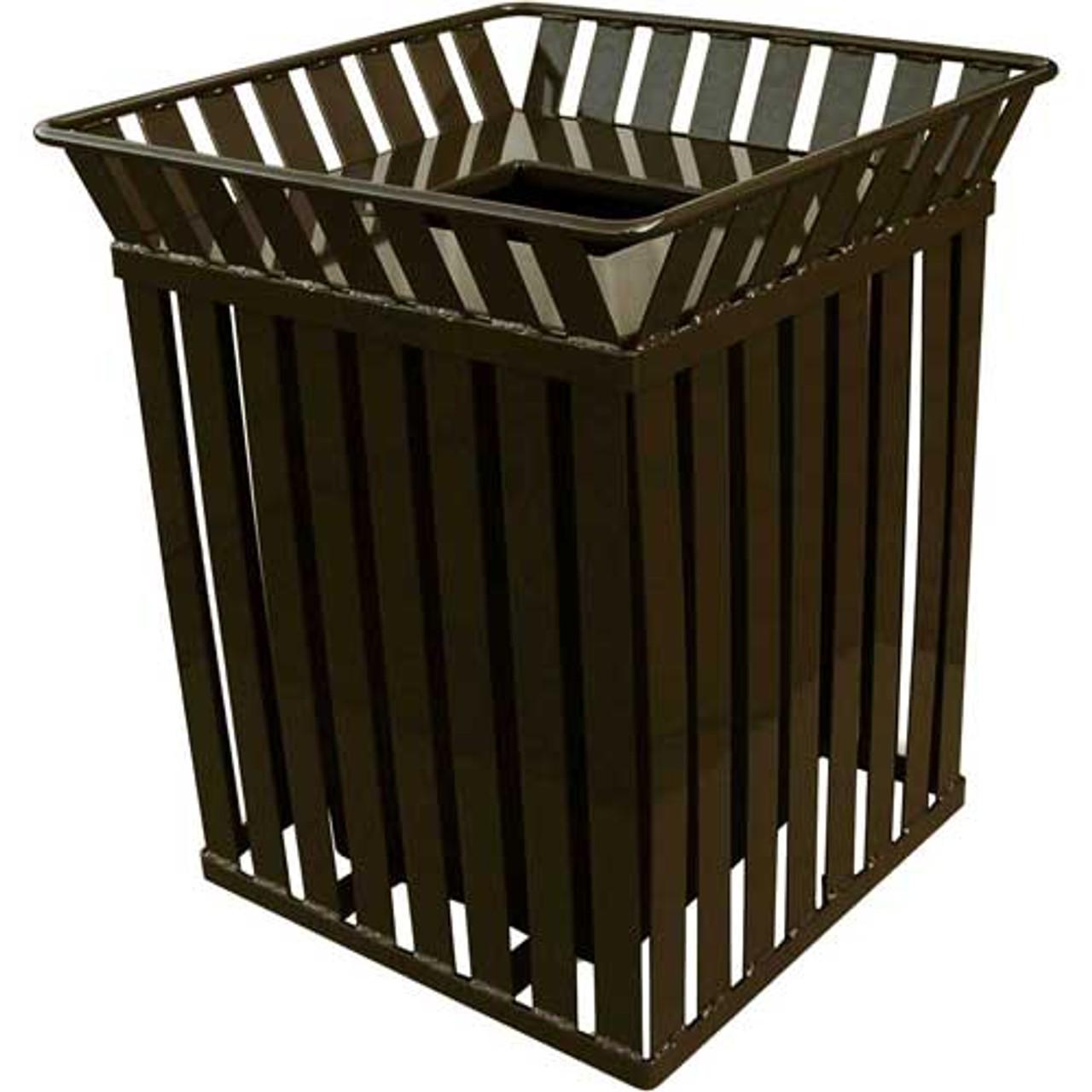 36 Gallon Oakley M3601SQ Square Steel Trash Can Brown