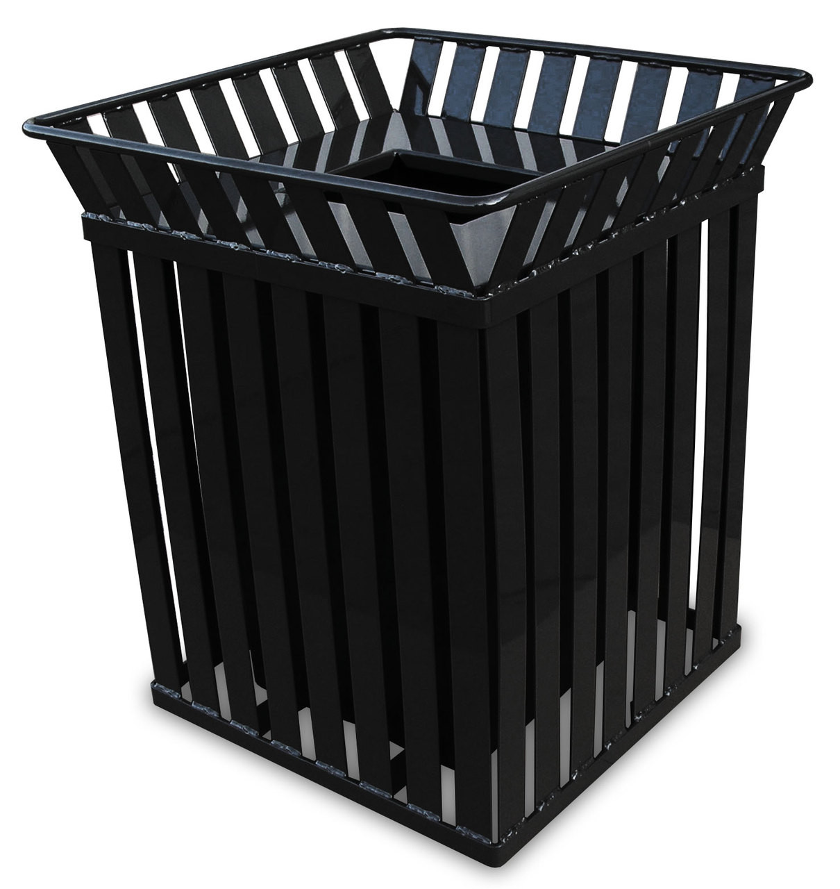 36 Gallon Oakley M3601SQ Square Steel Trash Can Black