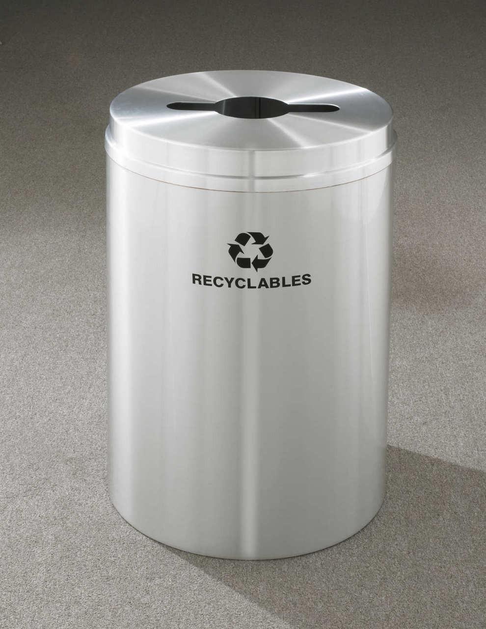 Glaro Metal Recycling Trash Can Satin Aluminum 33 Gallon