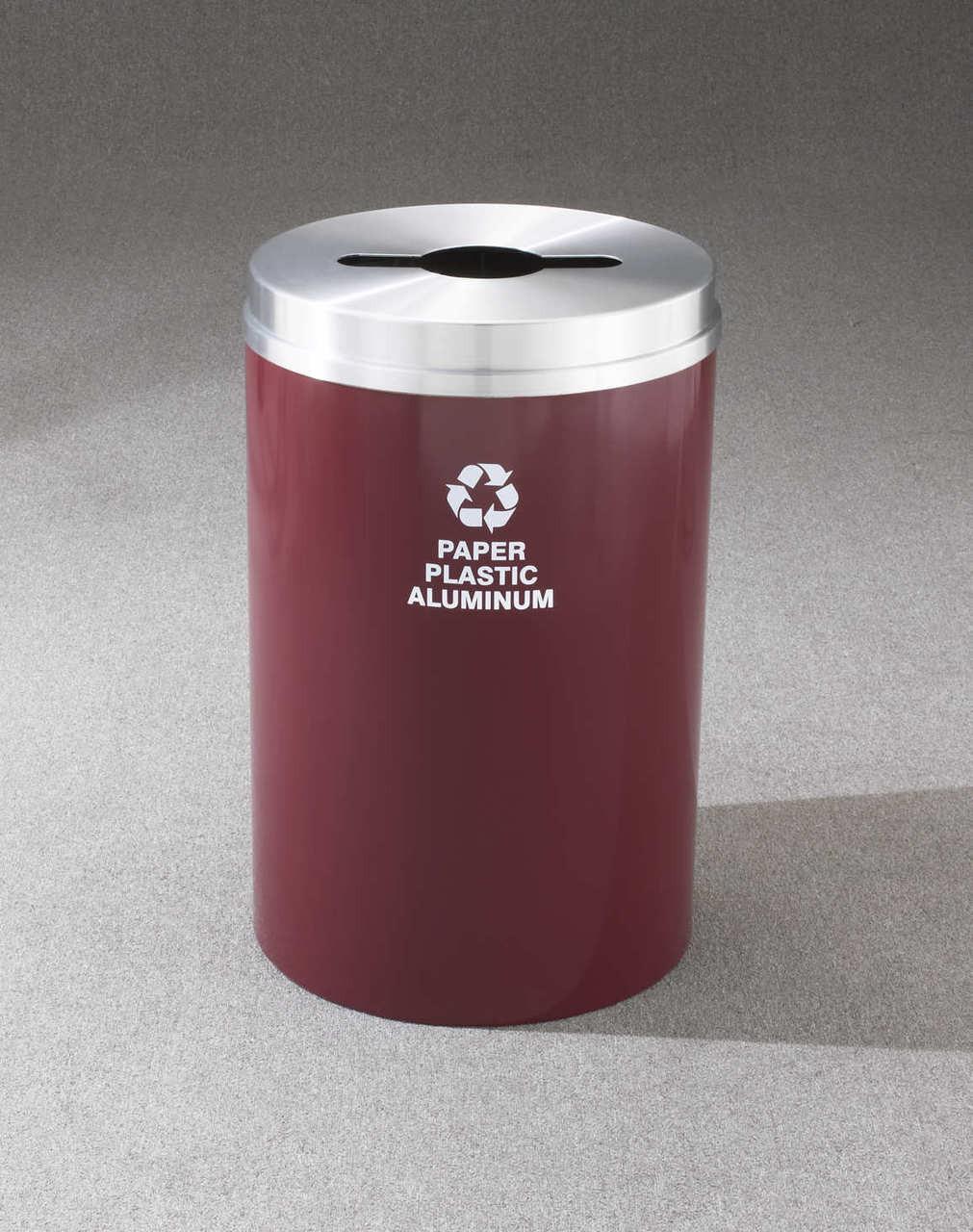 Glaro Metal Recycling Trash Can Burgundy 33 Gallon