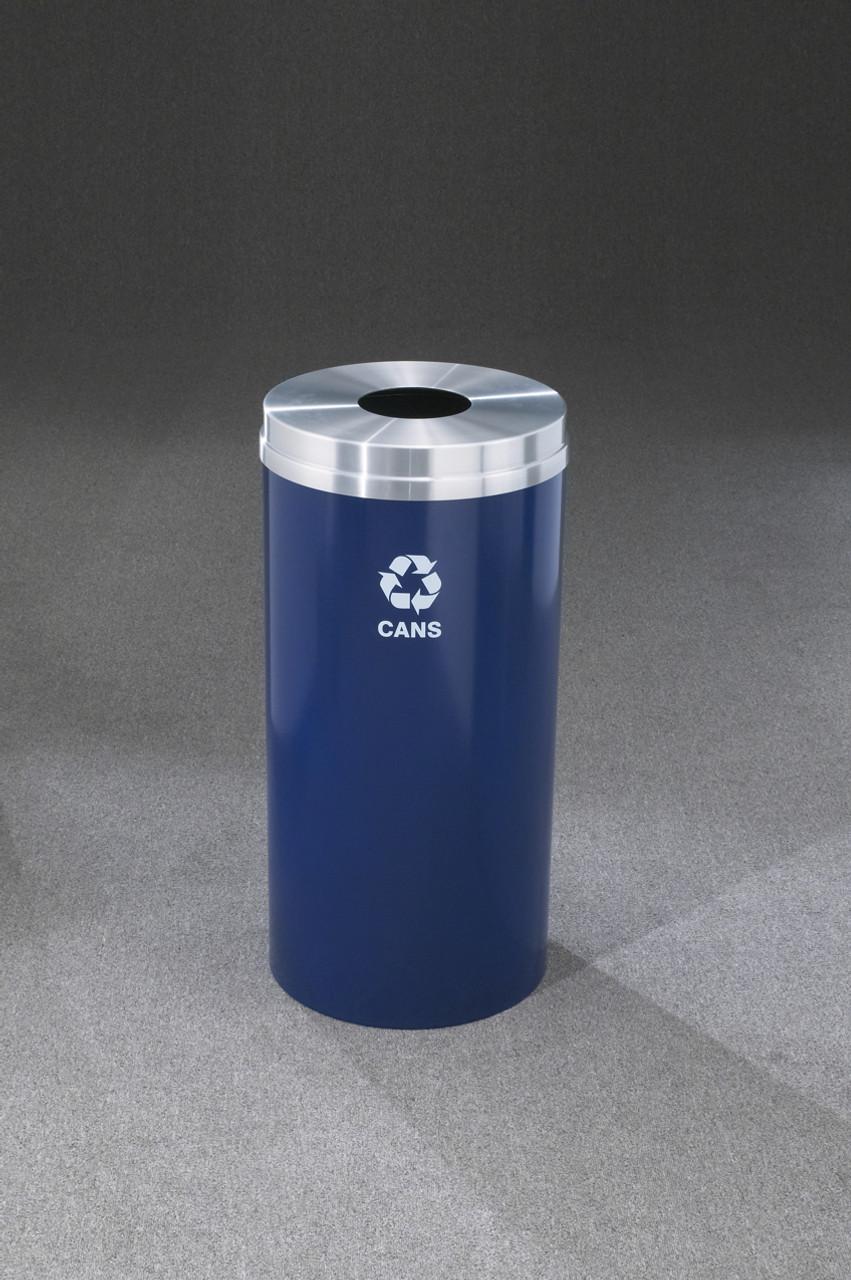 Glaro Metal Recycling Trash Can Midnight Blue 16 Gallon