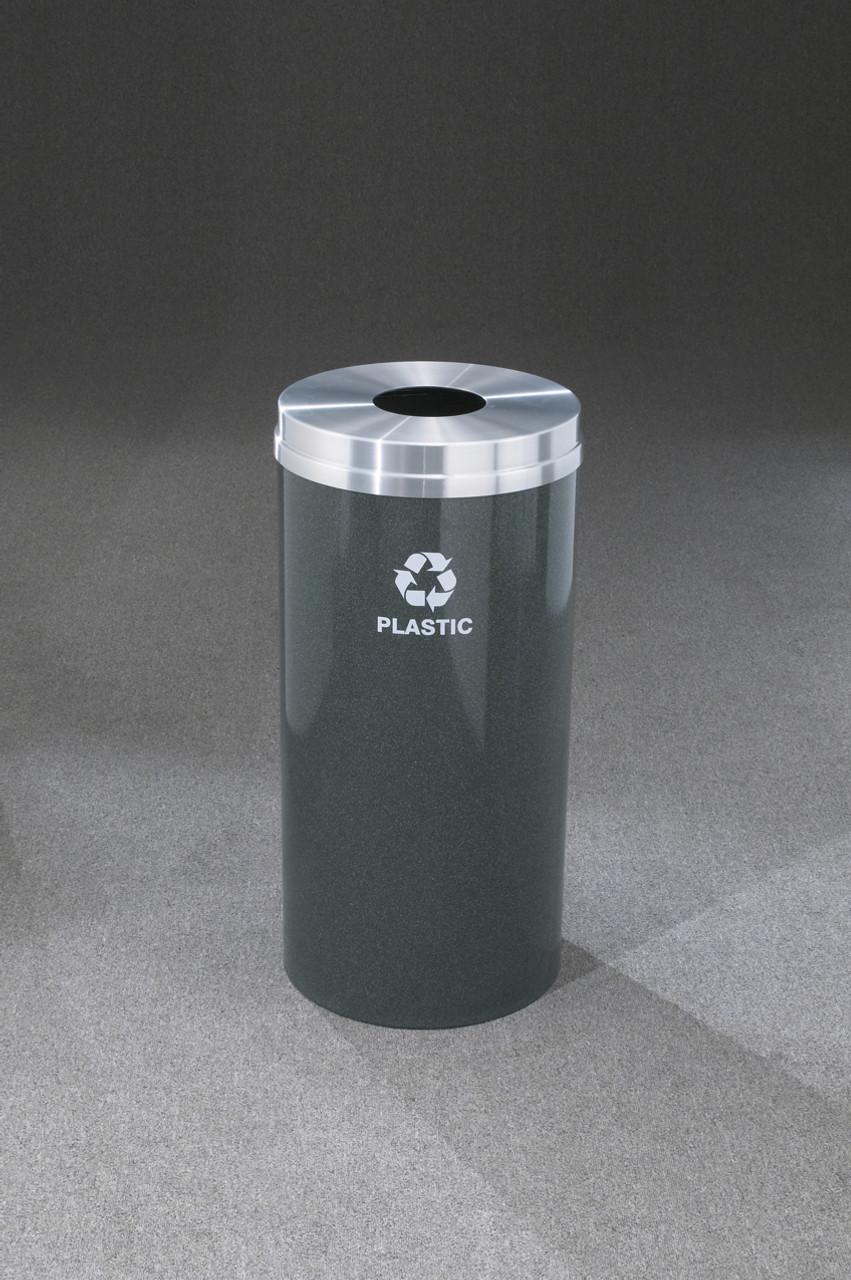 Glaro Metal Recycling Trash Can Hunter Green 16 Gallon