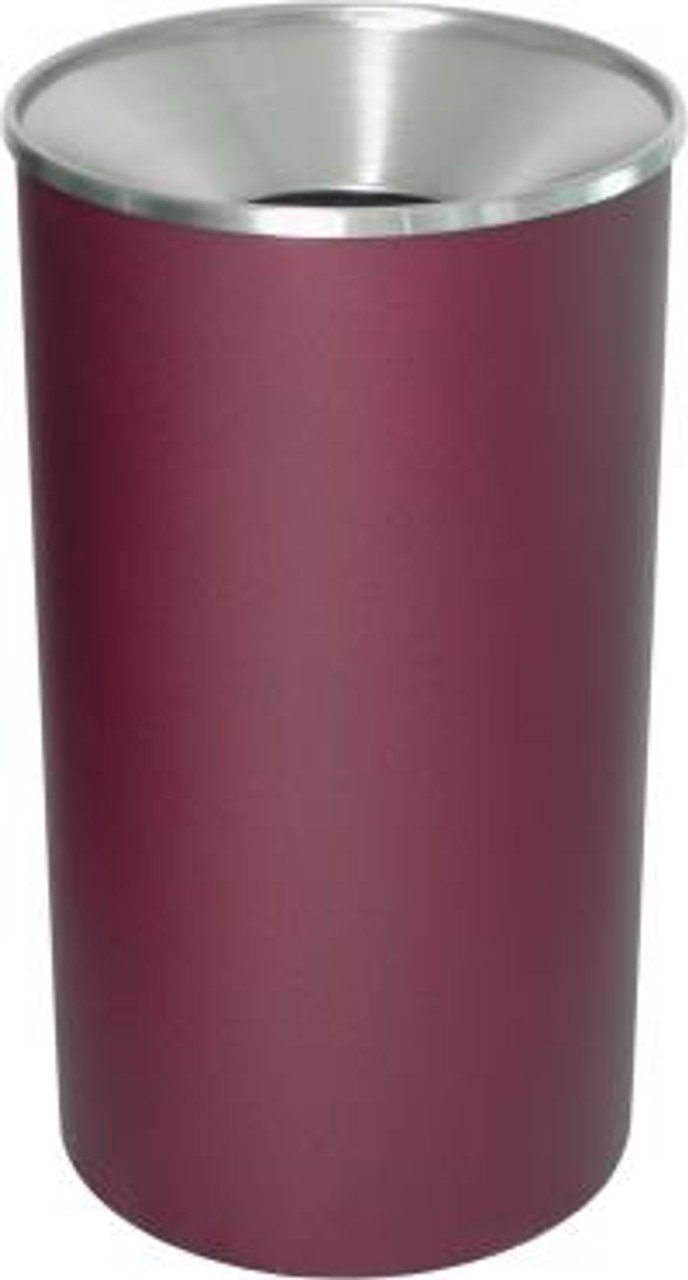Excell 33 Gallon Metal Indoor Outdoor Trash Can Burgundy