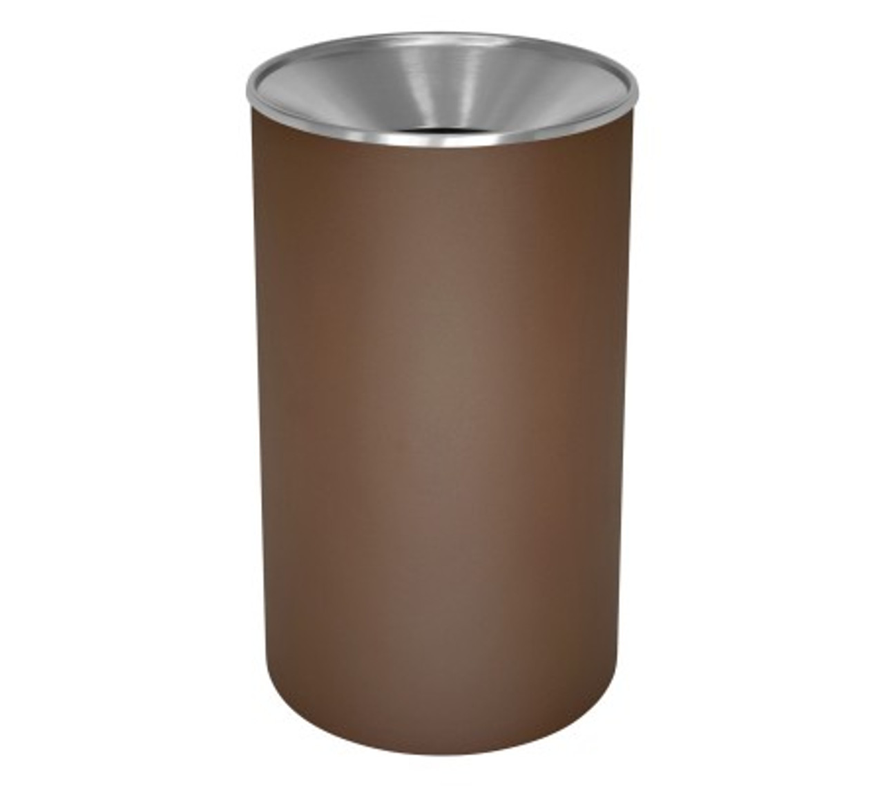 Excell 33 Gallon Metal Indoor Outdoor Trash Can Brown