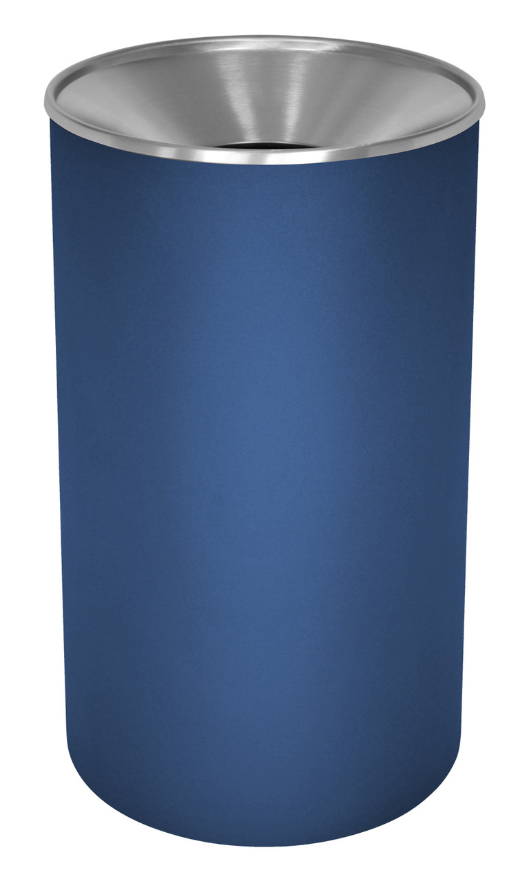 Excell 33 Gallon Metal Indoor Outdoor Trash Can Blue