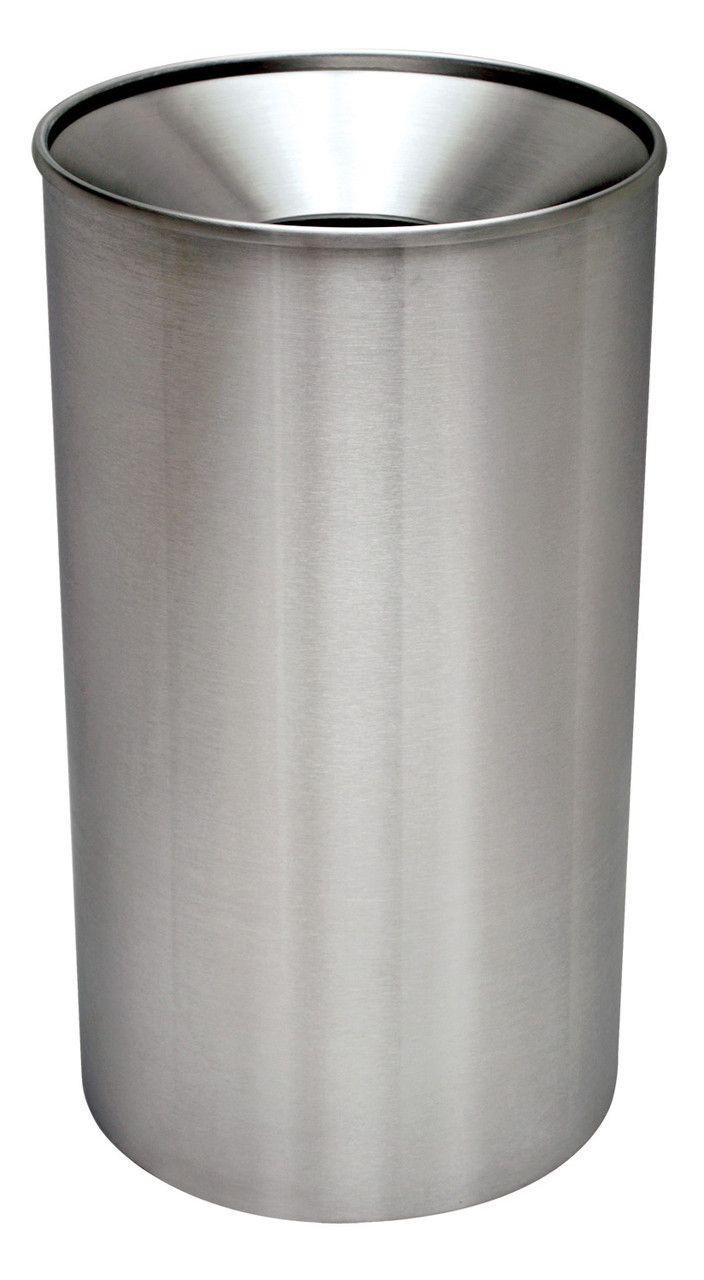 Excell 33 Gallon Metal Indoor Outdoor Trash Can Stainless Steel
