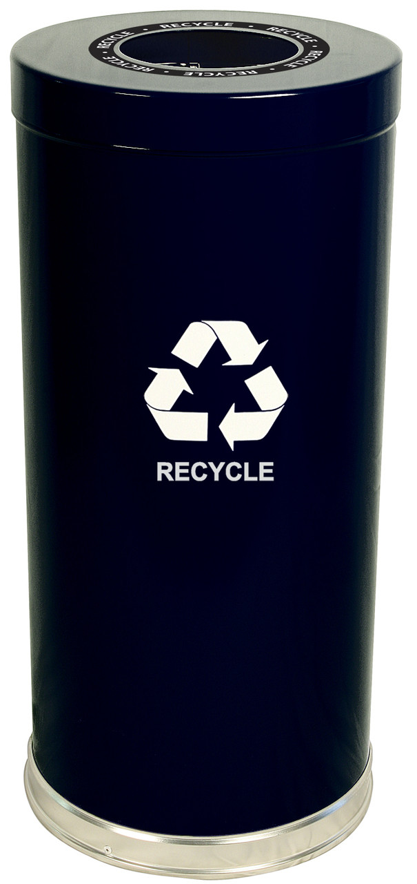 24 Gallon Metal Multi Recycling Container Black