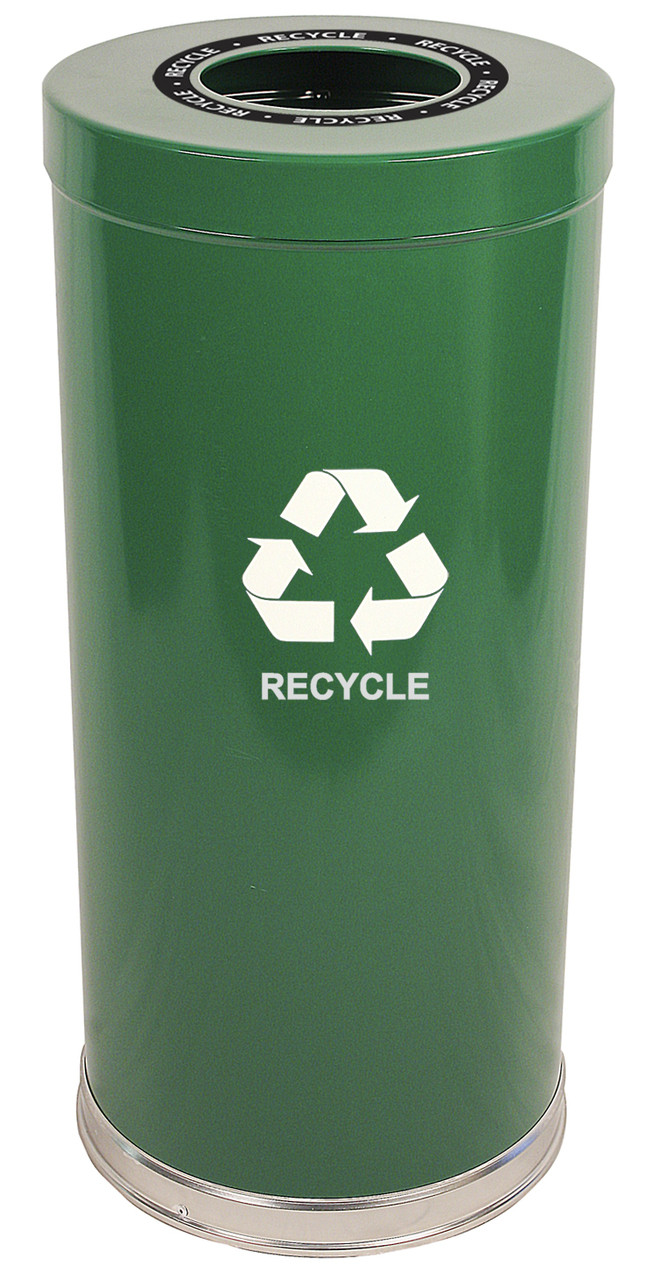 24 Gallon Metal Multi Recycling Container Green