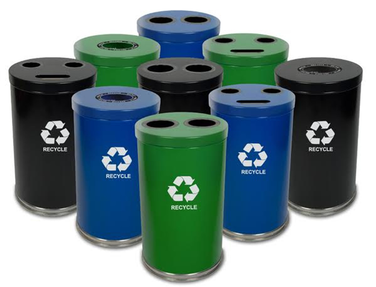 36 Gallon Metal Multi Recycling Container 1-3 Openings 18RT (3 Colors)