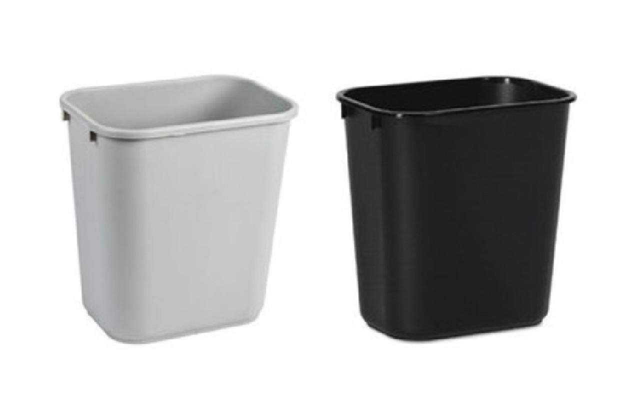 28 Quart Home or Office Plastic Wastebasket Black or Gray 28Q-BKGY (2 Pack)