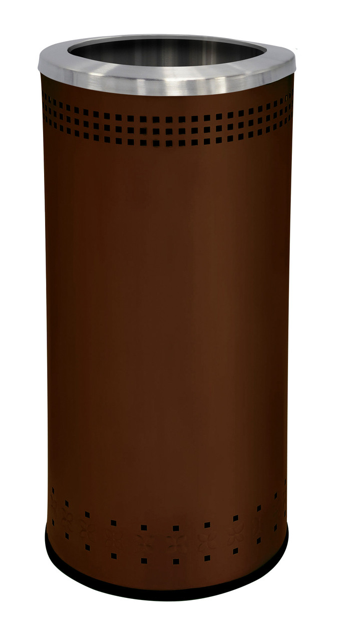 25 Gallon Stainless Steel Color Trash Can Without Lid Brown