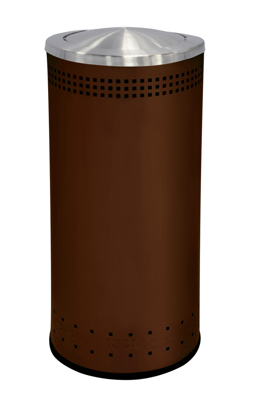 25 Gallon Stainless Steel Color Trash Can With Lid Brown