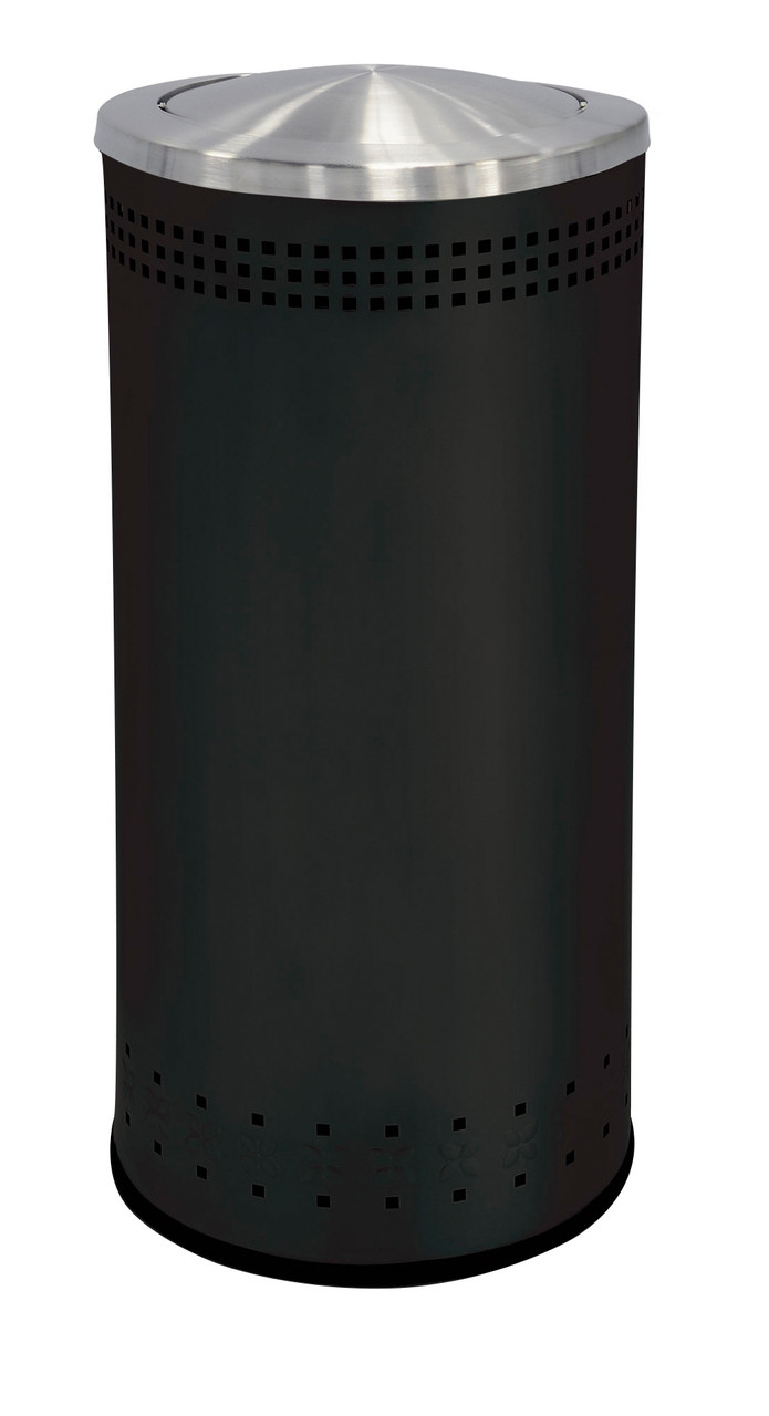 25 Gallon Stainless Steel Color Trash Can With Lid Black
