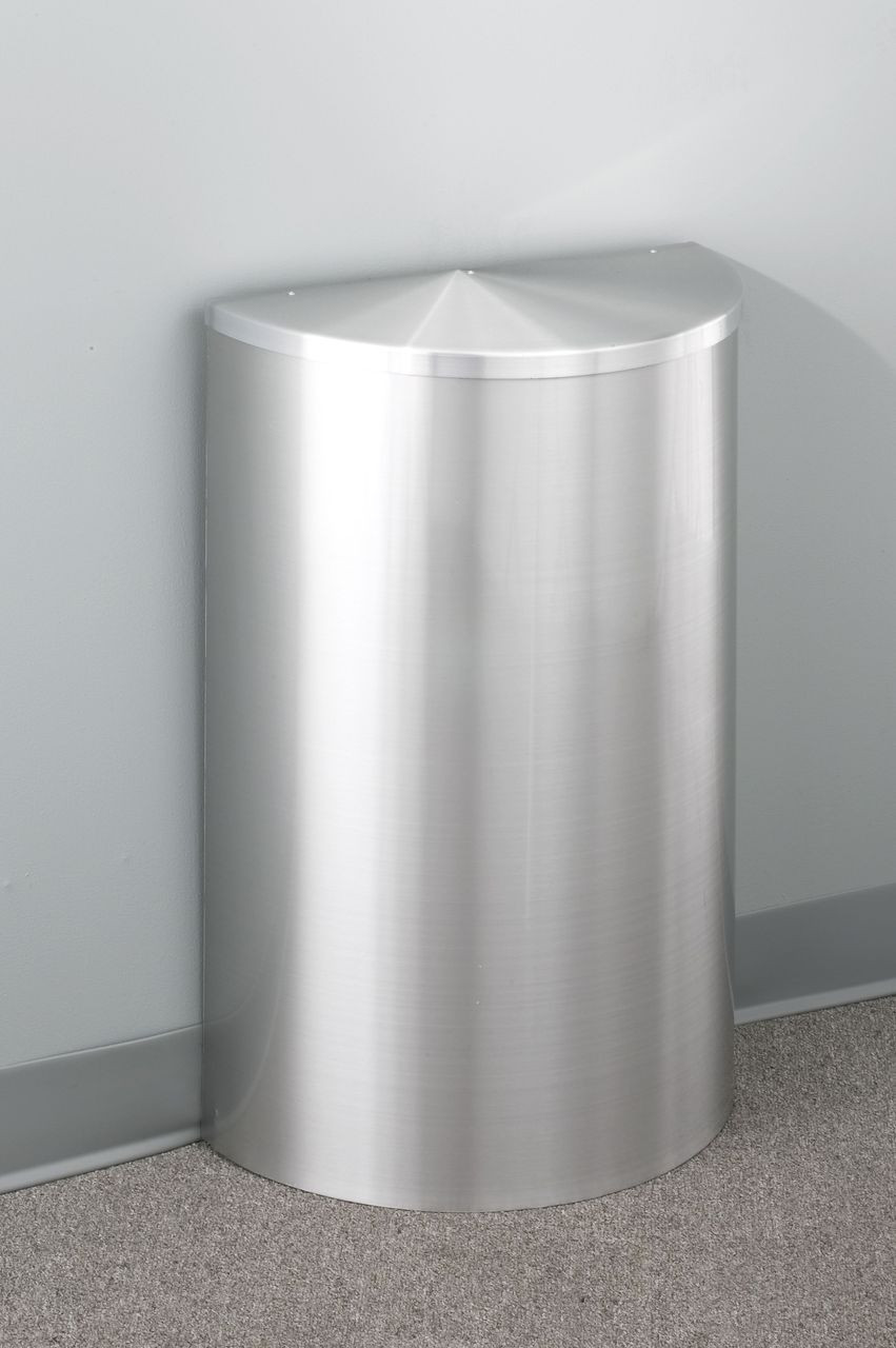 14 Gallon Half Round Trash Can with Hinged Lid Satin Aluminum