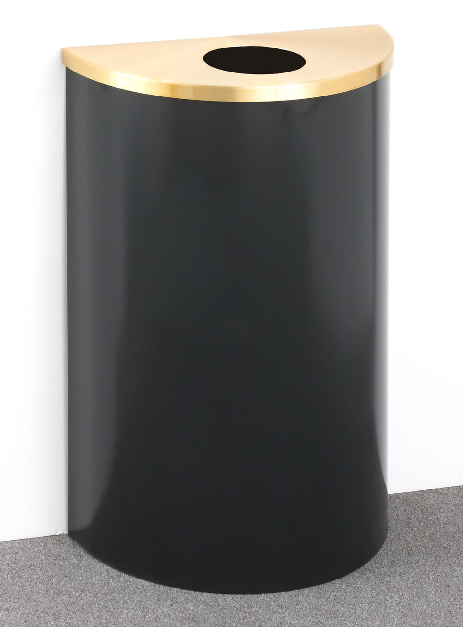 14 Gallon Half Round Trash or Recycling Can Hinged Lid Satin Brass Top