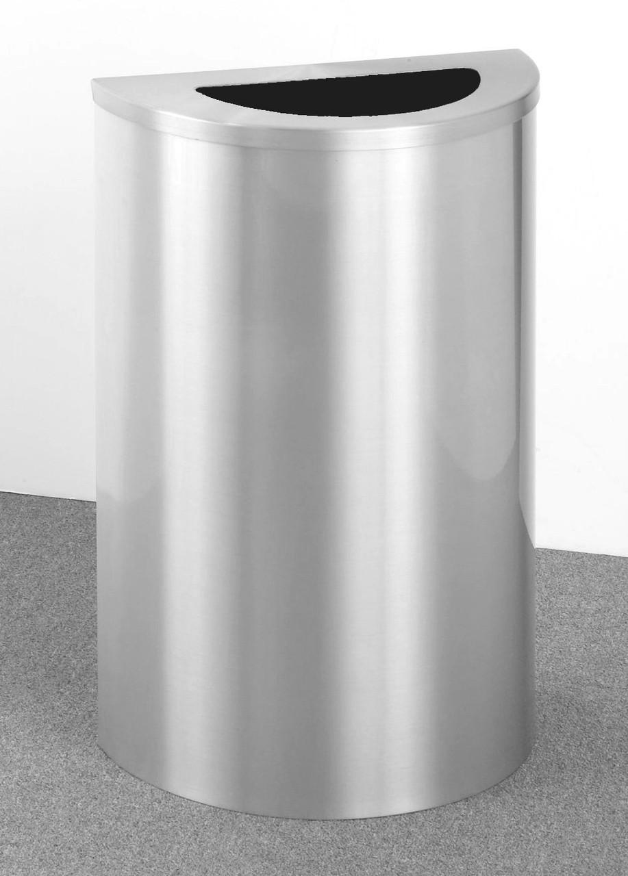 14 Gallon Half Round Trash Can Hinged Lid Satin Aluminum