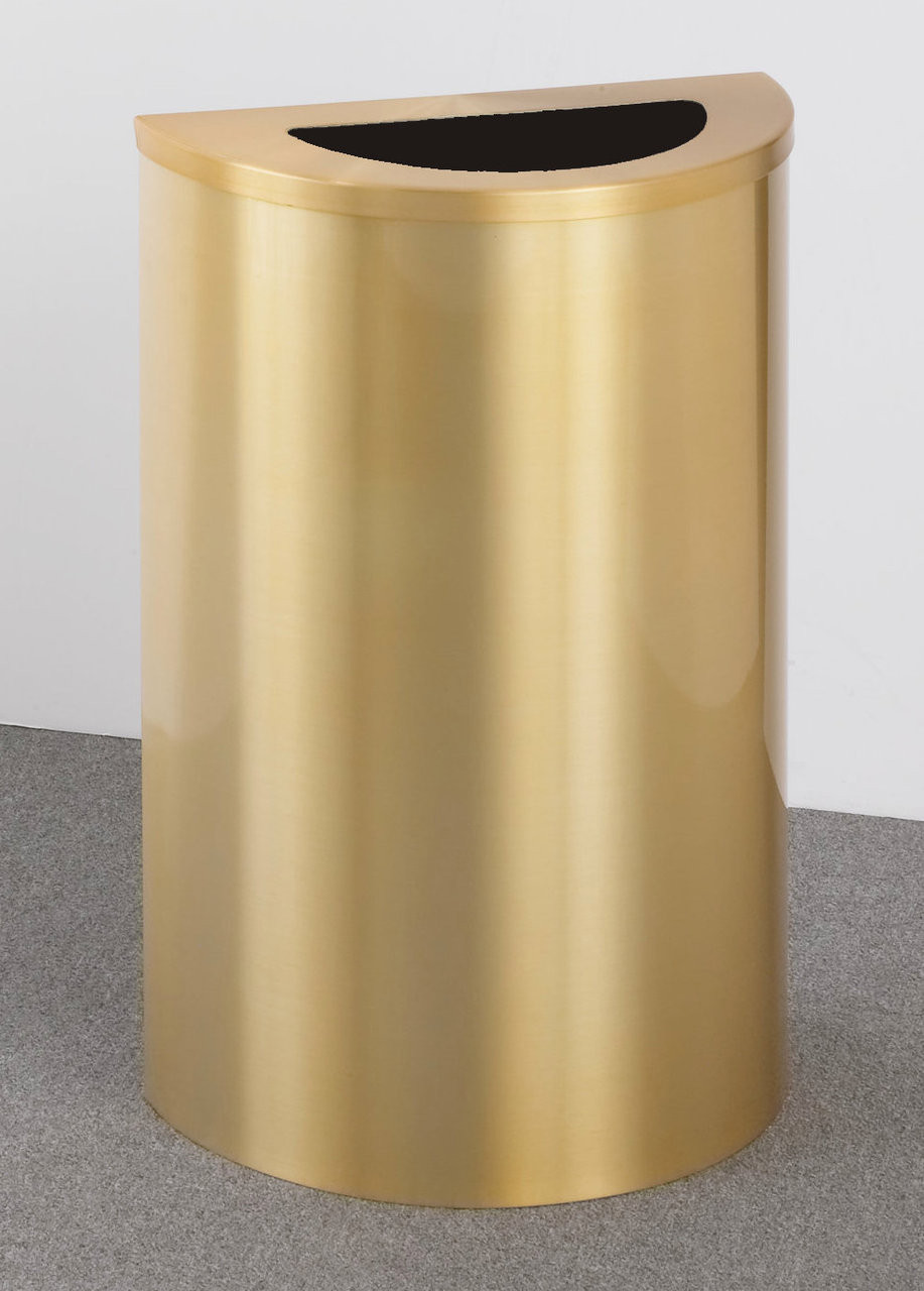 14 Gallon Half Round Trash Can Hinged Lid Satin Brass