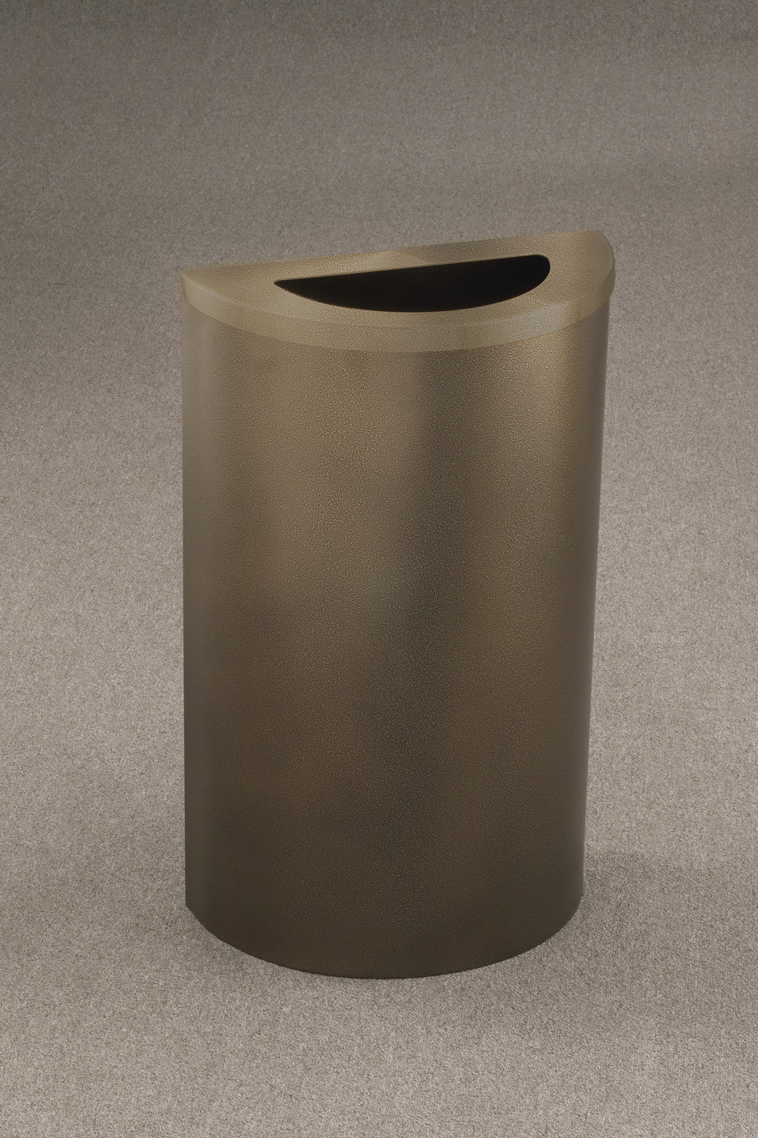 14 Gallon Half Round Trash Can Hinged Lid Bronze Vein with Matching Lid