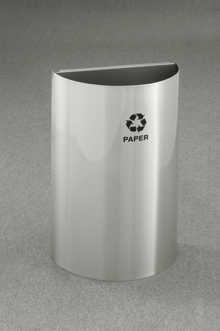 16 Gallon Half Round Open Top Recycling Trash Can Satin Aluminum