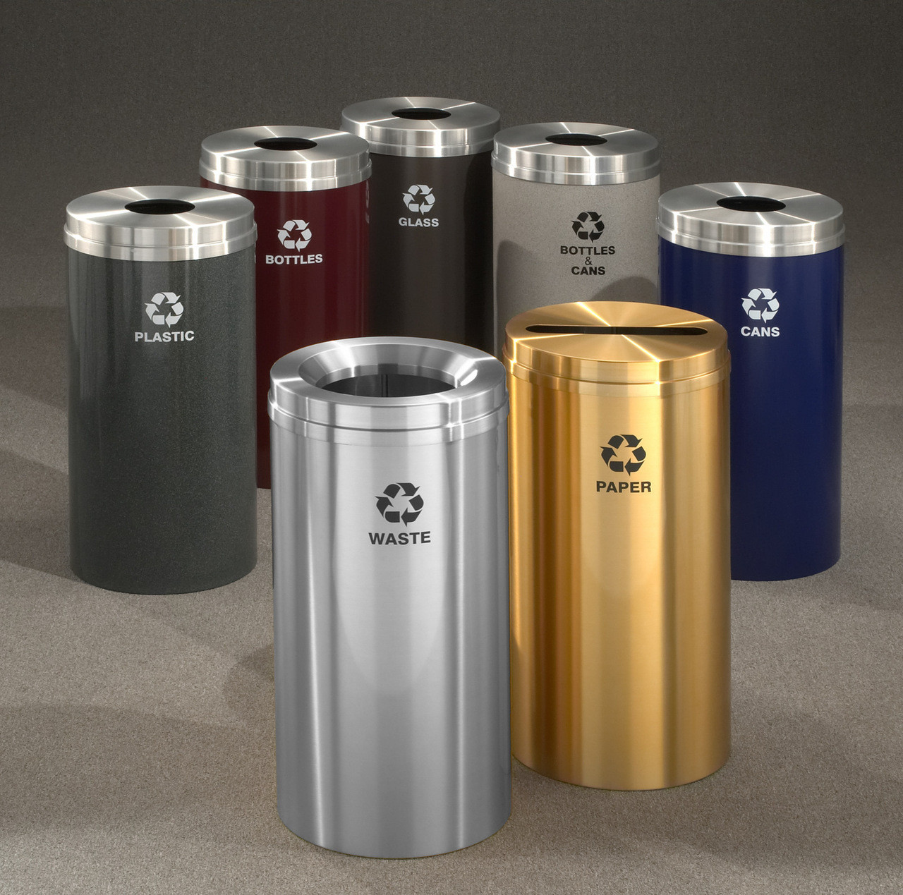16 Gallon Metal Recycling Trash Can 29 Finishes 4 Recycling Choices with Liner