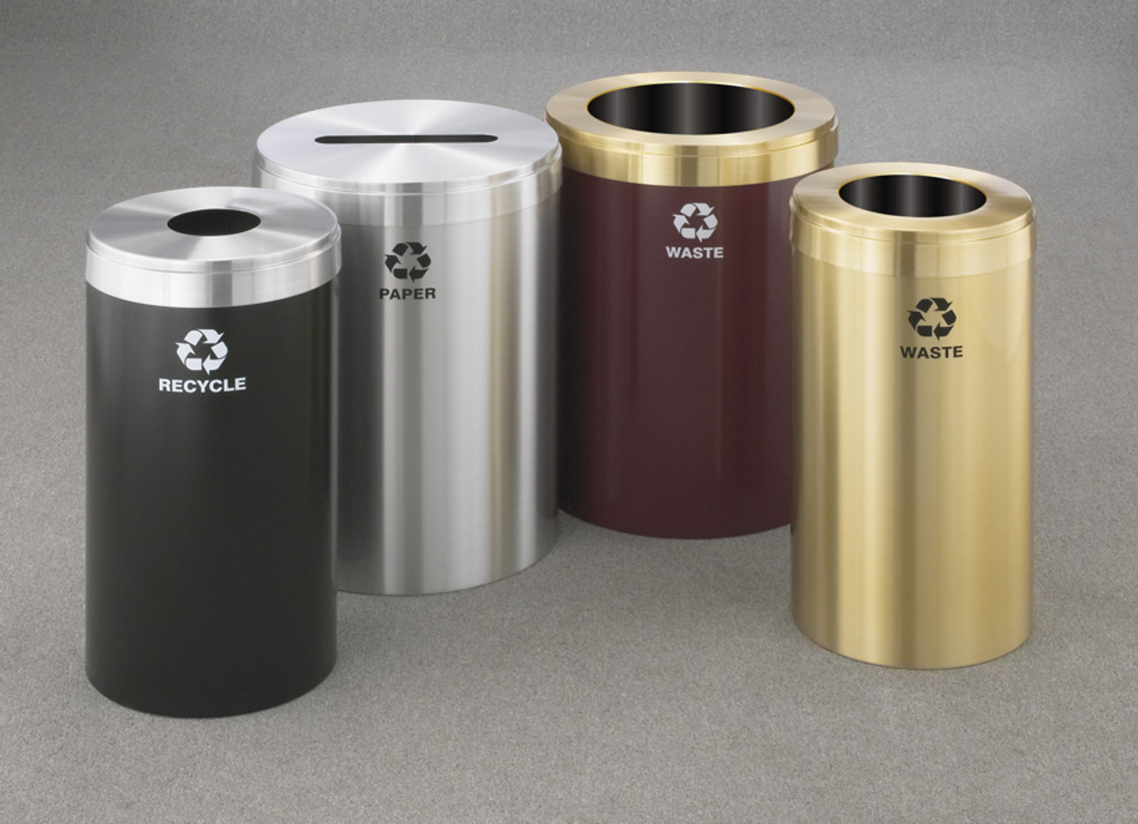 Group of Commercial Trash Cans 16 Gallon and 33 Gallon