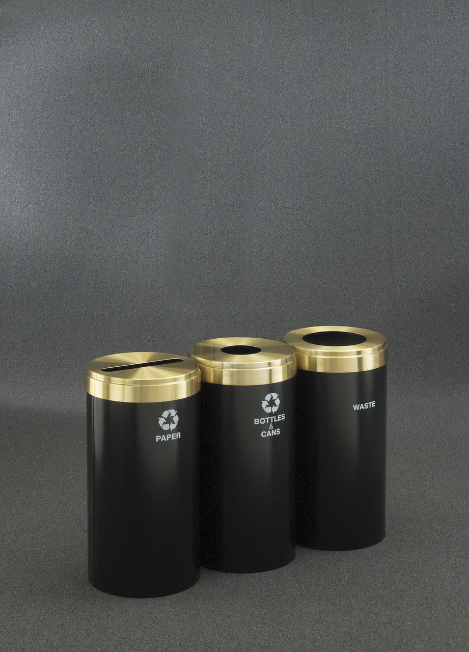 Connectable Metal Recycling Trash Can Combo 15 Gallons Each Satin Black and Brass