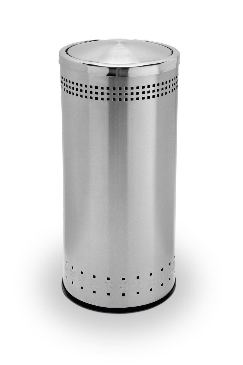25 Gallon Stainless Steel Trash Can With Swivel Lid