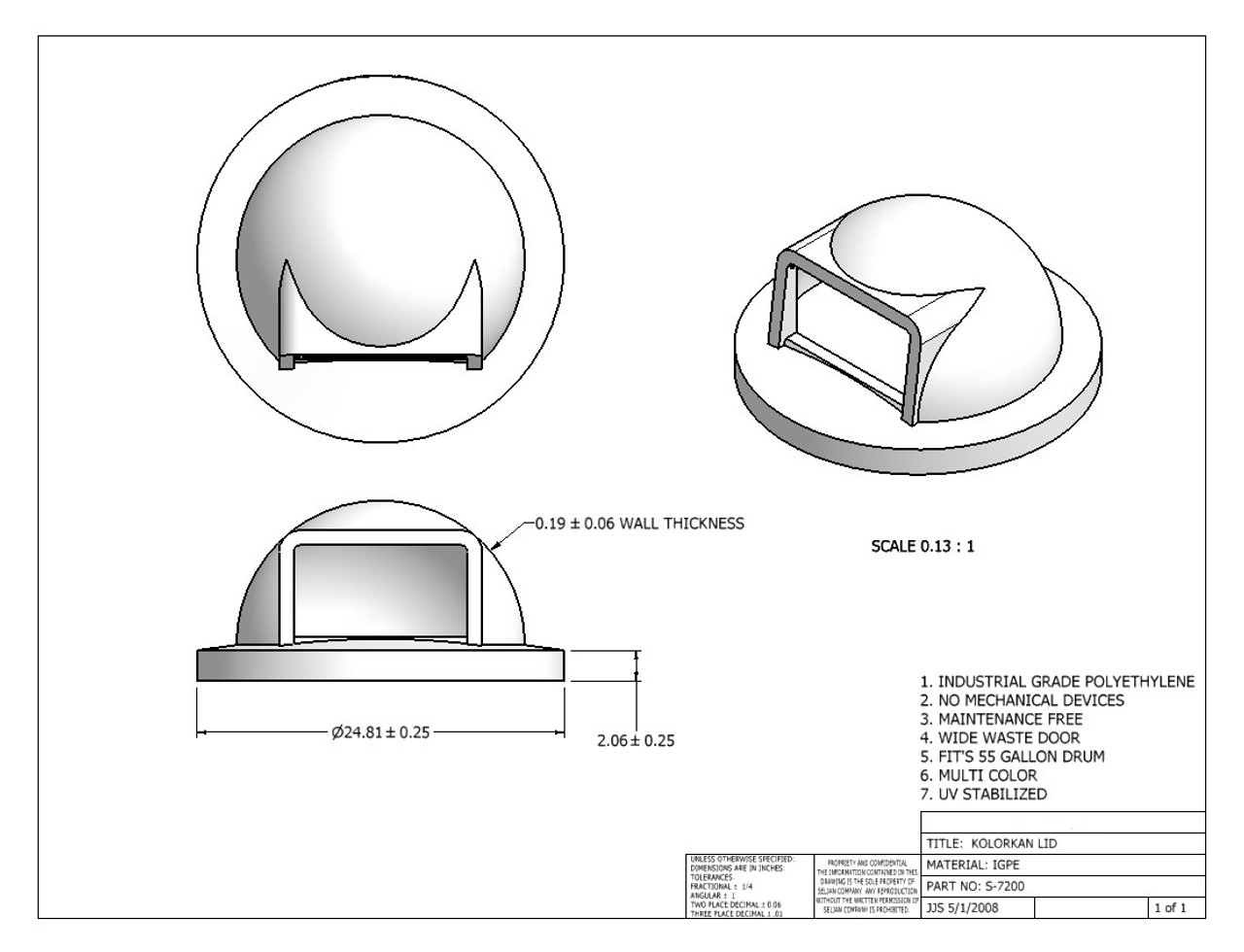 Dome Lid Spec Sheet