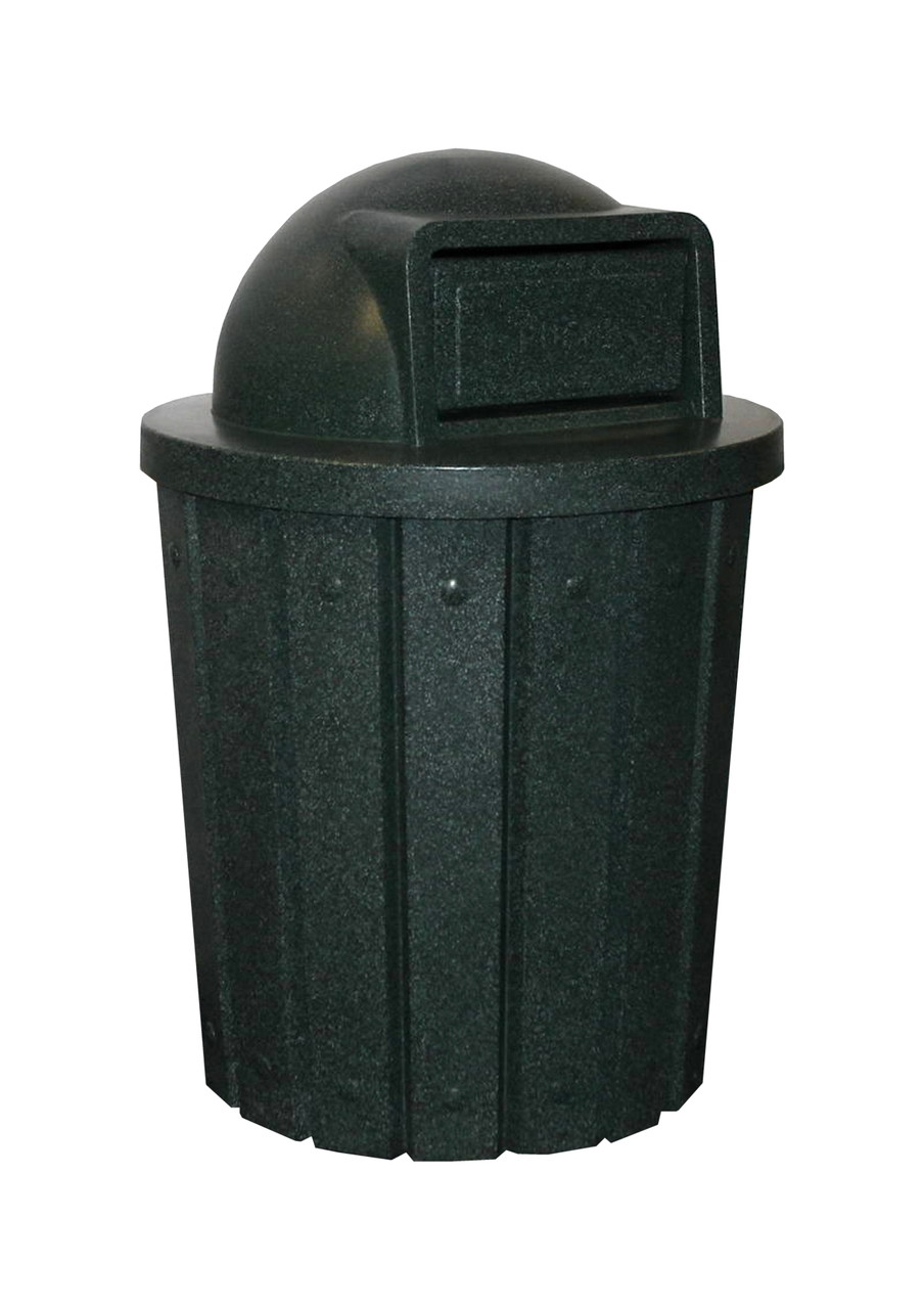 Kolor Can Signature 42 Gallon Heavy Duty Trash Receptacle with Push Door Lid GREEN GRANITE